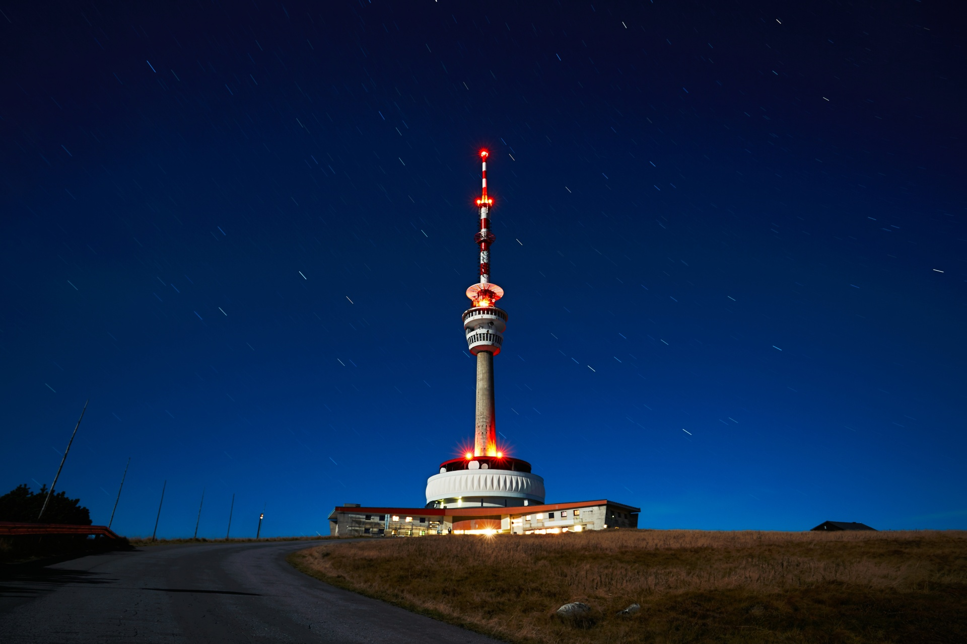 Starry night in the Czech Republic - TV transmitter
